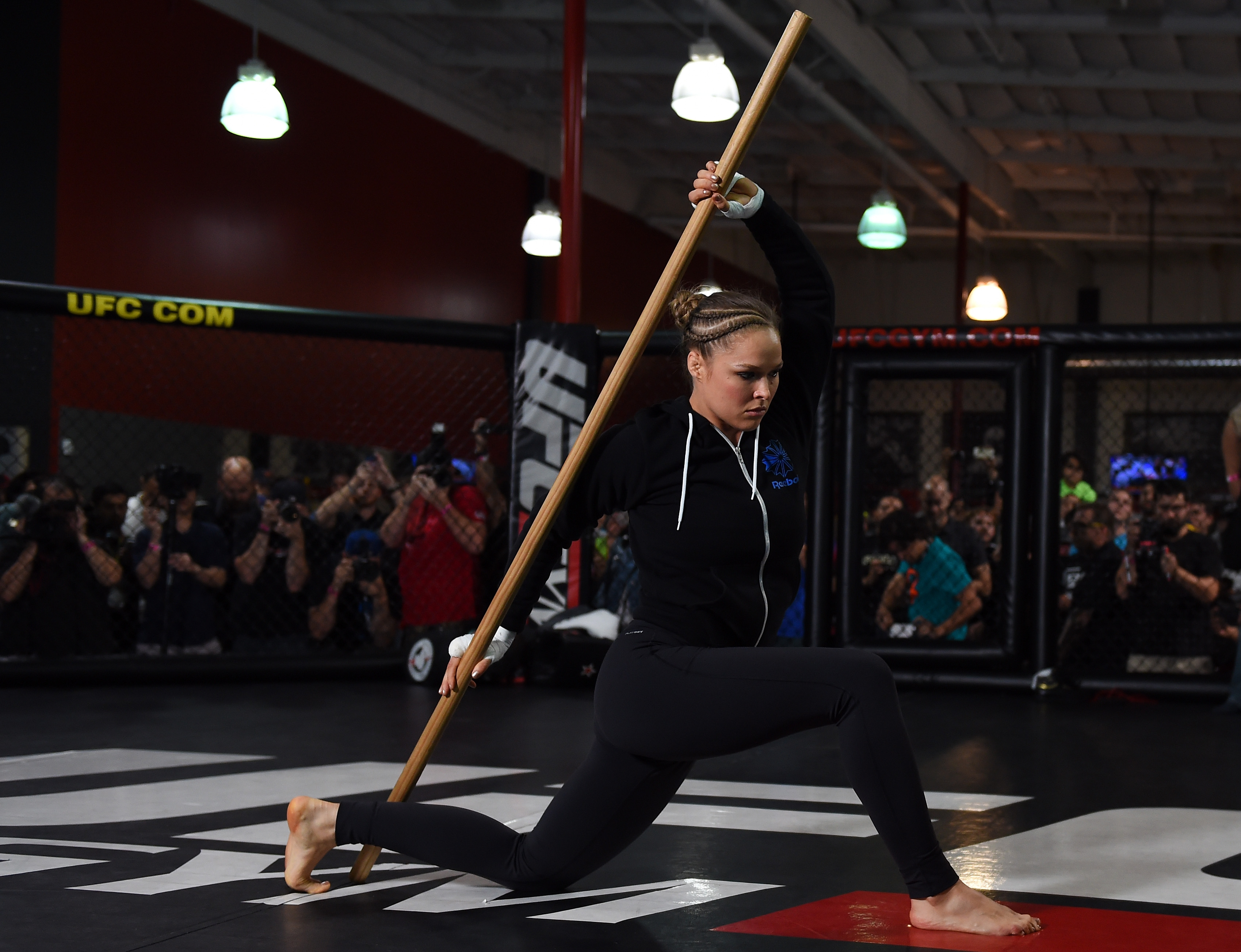 Rousey warming up before Open Workouts