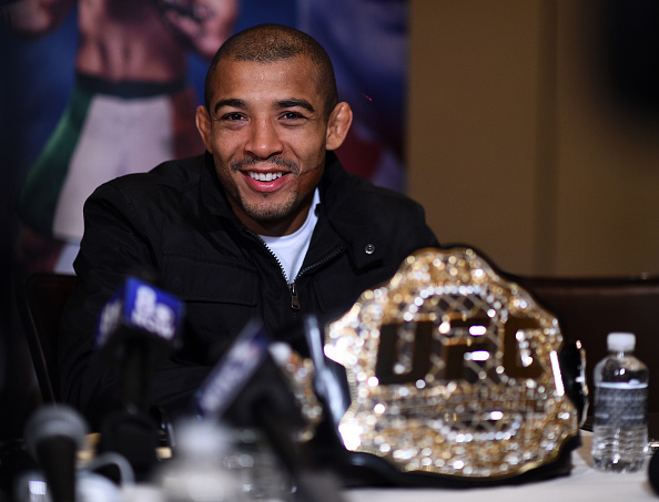Aldo takes questions from gathered media in Las Vegas