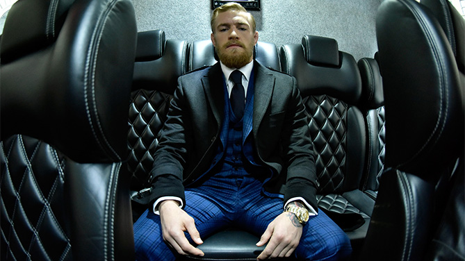 NEW YORK, NY - MARCH 26: UFC featherweight title challenger Conor McGregor of Ireland waits on his bus before entering the UFC 189 World Championship Press Tour press conference inside the Beacon Theatre on March 26, 2015 in New York City. (Photo by Jeff Bottari/Zuffa LLC/Zuffa LLC via Getty Images)