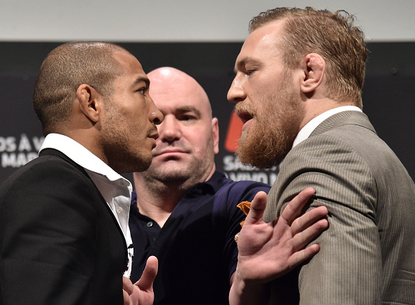 RIO DE JANEIRO, BRAZIL - MARCH 20: (EDITORS NOTE: Retransmission with alternate crop.) UFC Featherweight Champion Jose Aldo of Brazil (L) and challenger Conor McGregor of Ireland face off as UFC President Dana White (C) stands in during the 189 World Media Tour Launch press conference at Maracanazinho on March 20, 2015 in Rio de Janeiro, Brazil. (Photo by Buda Mendes/Zuffa LLC/Zuffa LLC via Getty Images)
