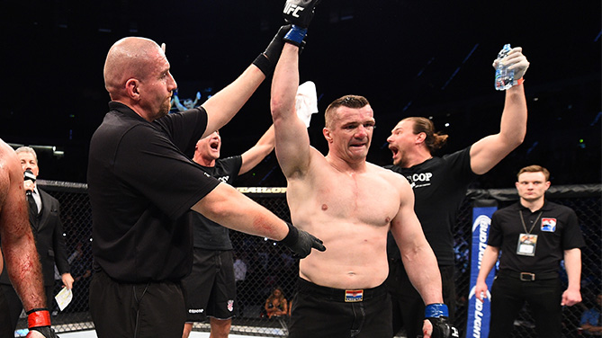 KRAKOW, POLAND - APRIL 11: Mirko Cro Cop of Croatia celebrates after his TKO victory over Gabriel Gonzaga of Brazil in their heavyweight fight during the UFC Fight Night event at the Tauron Arena on April 11, 2015 in Krakow, Poland. (Photo by Jeff Bottari/Zuffa LLC/Zuffa LLC via Getty Images)