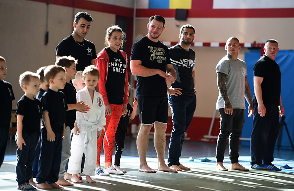 KRAKOW, POLAND - APRIL 09: UFC fighters interact with students during a training demonstration session at the Hajime Krakow Jiu-Jitsu School on April 9, 2015 in Krakow, Poland. (Photo by Jeff Bottari/Zuffa LLC/Zuffa LLC via Getty Images)