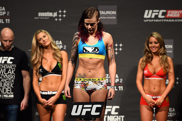 KRAKOW, POLAND - APRIL 10: Joanne Calderwood of Scotland weighs in during the UFC Fight Night weigh-in at the Tauron Arena on April 10, 2015 in Krakow, Poland. (Photo by Jeff Bottari/Zuffa LLC/Zuffa LLC via Getty Images)