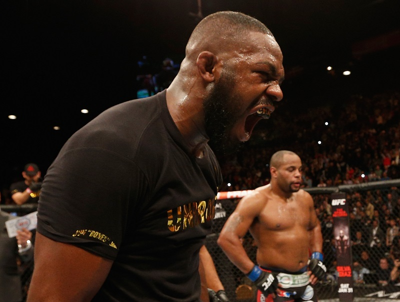 Jones (left) celebrates his victory. (Getty)