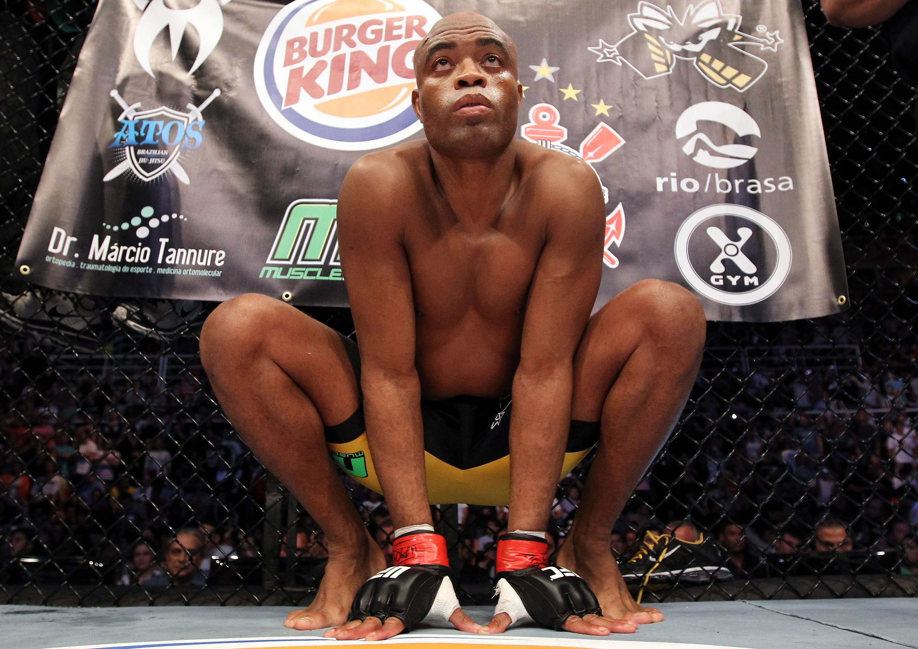 Silva in his infamous pre-fight spider pose