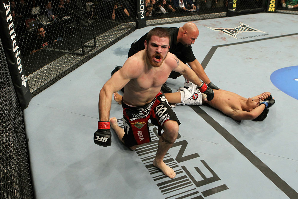 UFC 124: Jim Miller celebrates his win.