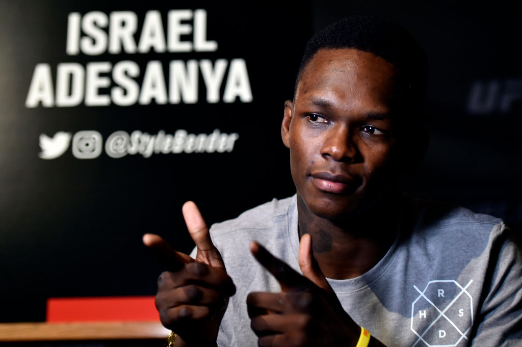 Israel Adesanya interacts with media during the UFC 221 Ultimate Media Day at Hyatt Regency on February 8, 2018 in Perth, Australia. (Photo by Jeff Bottari/Zuffa LLC)