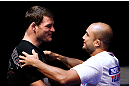 (L to R) Michael Bisping and BJ Penn embrace during an Open Workout