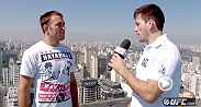 At a recent photo opportunity, Demian Maia and Jake Shields are faced with the awkward task of interviewing one another when Paula Sack turns the microphone over to the fighters. Thankfully, the guys still have their day jobs.