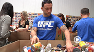 "UFC fighters -- including Frankie Edgar, Forrest Griffin, and Frank Mir -- and staff volunteer to pack food boxes at the Three Square food bank. ""Everybody in life has had help from somebody, and without that connection, we all fail."" said Mir."