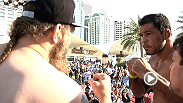 Featherweights Clay Guida and Tatsuya Kawajiri weigh-in and face off before headliners Minotauro Nogueira and Roy Nelson take the stage at the Fight Night Abu Dhabi weigh-in. See them all fight Friday morning on UFC Fight Pass!