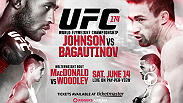 Clashing for the UFC flyweight title on June 14, champion Demetrious Johnson and challenger Ali Bagautinov talk about their battle at UFC 174. Also hear from Andrei Arlovski, Tyron Woodley and Rory MacDonald.