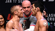 UFC bantamweight champion TJ Dillashaw and Dominick Cruz have their final staredown ahead of Fight Night Boston Sunday live and free on FS1. Also, watch the face off between Anthony Pettis and Eddie Alvarez.