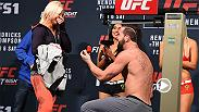 Alex Nicholson is making his UFC debut against Misha Cirkunov at Fight Night Las Vegas, but he wasn't too busy at Friday's weigh-in to purpose to his girlfriend before his staredown with Cirkunov. Don't miss these two warriors on FS1 Saturday.