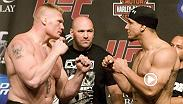 Brock Lesnar steps into the Octagon against Frank Mir at UFC 100.  Brock delivers some vicious ground and pound to finish off Frank Mir and get the KO.  Don't miss Brock Lesnar's return to the Octagon against Mark Hunt at UFC 200 July 9.