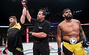 "Roy ""Big Country"" Nelson reacts to his win immediately after defeating Antonio ""Bigfoot"" Silva at UFC Fight Night Brasilia inside the Octagon with UFC commentator Jon Anik."