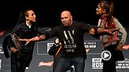Things got wild during the UFC 205 prefight press conference face-offs as Joanna Jedrzejczyk-Karolina Kowalkiewicz and Tyron Woodley-Stephen Thompson squared up. See how it all went down at Madison Square Garden on Nov. 10.