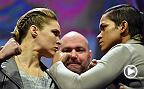 Women's bantamweight champion Amanda Nunes and former champ Ronda Rousey faced-off for the first time in Madison Square Garden after the UFC 205 weigh-in.