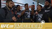Khabib Nurmagomedov is surprised after training by some fans. Tony Ferguson does freestyle training outdoors. Stephen Thompson pushes his cardio. And Tyron Woodley watches his son carry out the family tradition of winning big.