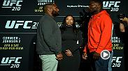 Watch as the stars of UFC 210 face-off at media day on Wednesday, featuring main and co-main event fighters Daniel Cormier, Anthony Johnson, Chris Weidman and Gegard Mousasi.