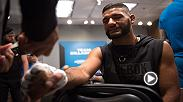 Dhiego Lima sits down with Coach TJ Dillashaw to go over film before his semifinal fight against Tom Gallicchio.