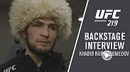 Khabib Nurmagomedov meets with Megan Olivi backstage after his win at UFC 219: Cyborg vs Holm.