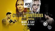 UFC 222 is action packed featuring a featherweight title matchup between Cyborg and Kunitskaya. In the co-main event Frankie Edgar meets Brian Ortega.
