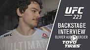Olivier Aubin-Mercier picked up the first knockout of his UFC career with a first-round TKO stoppage of veteran Evan Dunham. OAM spoke backstage about his performance at UFC 223 in Brooklyn, New York.
