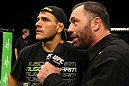 Joe Rogan speaks with Rafael Dos Anjos after his victory over George Sotiropoulos.