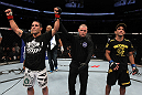UFC 133: Chad Mendes celebrates his win.