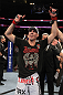 UFC 133: Rory MacDonald celebrates his win.