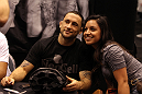 Lightweight Champion Frankie Edgar poses with fans