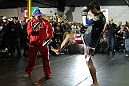 TORONTO, ON - DECEMBER 07:  Lyoto Machida works out for the fans and media during the UFC 140 Open Workouts at the Xtreme Couture Gym on December 7, 2011 in Toronto, Ontario.  (Photo by Josh Hedges/Zuffa LLC/Zuffa LLC via Getty Images)