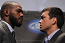 TORONTO, ON - DECEMBER 08:  (L-R) UFC Light Heavyweight Champion Jon Jones and opponent Lyoto Machida face off at the final UFC 140 pre-fight press conference at Bell Tiff Lightbox Cinema1 on December 8, 2011 in Toronto, Canada.  (Photo by Josh Hedges/Zuffa LLC/Zuffa LLC via Getty Images)