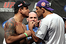 "TORONTO, ON - DECEMBER 09:  (L-R) Heavyweight opponents Frank Mir and Antonio Rodrigo ""Minotauro"" Nogueira face off after weighing in during the UFC 140 Official Weigh-in at the Air Canada Centre on December 9, 2011 in Toronto, Canada.  (Photo by Josh Hedges/Zuffa LLC/Zuffa LLC via Getty Images)"
