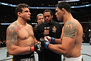 TORONTO, ON - DECEMBER 10:  (L-R) Heavyweight opponents Frank Mir and Antonio Rodrigo Nogueira receive final instructions from referee Herb Dean before their bout during the UFC 140 event at Air Canada Centre on December 10, 2011 in Toronto, Ontario, Canada.  (Photo by Nick Laham/Zuffa LLC/Zuffa LLC via Getty Images)