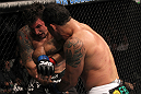 TORONTO, ON - DECEMBER 10:  (R-L) Antonio Rodrigo Nogueira lands an elbow against Frank Mir during the UFC 140 event at Air Canada Centre on December 10, 2011 in Toronto, Ontario, Canada.  (Photo by Nick Laham/Zuffa LLC/Zuffa LLC via Getty Images)
