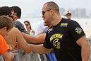 RIO DE JANEIRO, BRAZIL - JANUARY 11:  UFC Heavyweight Champion Junior dos Santos attends the UFC 142 Open Workouts at Barra de Tijuca Beach on January 11, 2012 in Rio de Janeiro, Brazil.  (Photo by Josh Hedges/Zuffa LLC/Zuffa LLC via Getty Images)