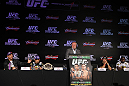 RIO DE JANEIRO, BRAZIL - JANUARY 12:  A general view of the fighters on the dais during the final UFC 142 pre-fight press conference at the Copacabana Palace Hotel on January 12, 2012 in Rio de Janeiro, Brazil.  (Photo by Josh Hedges/Zuffa LLC/Zuffa LLC via Getty Images)