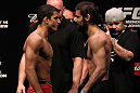 RIO DE JANEIRO, BRAZIL - JANUARY 13:  (L-R) Opponents Felipe Arantes and Antonio Carvalho face off after weighing in during the UFC 142 Weigh In at HSBC Arena on January 13, 2012 in Rio de Janeiro, Brazil.  (Photo by Josh Hedges/Zuffa LLC/Zuffa LLC via Getty Images)