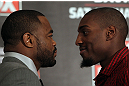 CHICAGO, IL - JANUARY 26:  (L-R) Light Heavyweight opponents Rashad Evans and Phil Davis face off during the UFC on FOX press conference at the W Hotel on January 26, 2012 in Chicago, Illinois.  (Photo by Josh Hedges/Zuffa LLC/Zuffa LLC via Getty Images) *** Local Caption *** Rashad Evans; Phil Davis