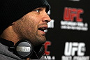 LAS VEGAS, NV - FEBRUARY 01:  Josh Koscheck answers questions from the media during the UFC 143 open workouts at Mandalay Bay Events Center on February 1, 2012 in Las Vegas, United States.  (Photo by Josh Hedges/Zuffa LLC/Zuffa LLC via Getty Images) *** Local Caption *** Josh Koscheck