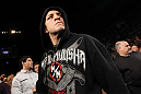 LAS VEGAS - FEBRUARY 04:  Nick Diaz makes his way to the Octagon for his fight with Carlos Condit during the UFC 143 event at Mandalay Bay Events Center on February 4, 2012 in Las Vegas, Nevada.  (Photo by Nick Laham/Zuffa LLC/Zuffa LLC via Getty Images) *** Local Caption *** Nick Diaz