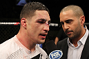 OMAHA, NE - FEBRUARY 15:  Diego Sanchez (L) is interviewed by Jon Anik after his decision loss to Jake Ellenberger during the UFC on FUEL TV event at Omaha Civic Auditorium on February 15, 2012 in Omaha, Nebraska.  (Photo by Josh Hedges/Zuffa LLC/Zuffa LLC via Getty Images) *** Local Caption *** Diego Sanchez; Jon Anik