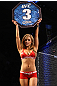 OMAHA, NE - FEBRUARY 15:  UFC Octagon Girl Brittney Palmer introduces round three during the Salas v Kuivanen bout during the UFC on FUEL TV event at Omaha Civic Auditorium on February 15, 2012 in Omaha, Nebraska.  (Photo by Josh Hedges/Zuffa LLC/Zuffa LLC via Getty Images) *** Local Caption *** Brittney Palmer