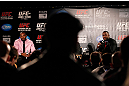 ATLANTA, GA - APRIL 18:  Jon Jones and Rashad Evans converse with the media during the press conference for the UFC 145 bout between Jones v Evans at Park Tavern on April 18, 2012 in Atlanta, Georgia.  (Photo by Kevin C. Cox/Zuffa LLC/Zuffa LLC via Getty Images)