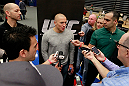 ATLANTA, GA - APRIL 19:  Georges St-Pierre of Canada speaks to the media during UFC 145 open workouts at GSU Sports Arena on April 19, 2012 in Atlanta, Georgia.  (Photo by Kevin C. Cox/Zuffa LLC/Zuffa LLC via Getty Images)