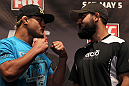 NEW YORK, NY - MAY 03:  (L-R) Opponents Josh Koscheck and Johny Hendricks face off during the UFC on FOX pre-fight press conference at Beacon Theatre on May 3, 2012 in New York City.  (Photo by Josh Hedges/Zuffa LLC/Zuffa LLC via Getty Images)