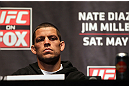 NEW YORK, NY - MAY 03:  Nate Diaz attends the UFC on FOX pre-fight press conference at Beacon Theatre on May 3, 2012 in New York City.  (Photo by Josh Hedges/Zuffa LLC/Zuffa LLC via Getty Images)
