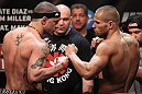 EAST RUTHERFORD, NJ - MAY 04:  (L-R) Opponents Mike Massenzio and Karlos Vemola face off after weighing in during the UFC on FOX official weigh in at Izod Center on May 4, 2012 in East Rutherford, New Jersey.  (Photo by Josh Hedges/Zuffa LLC/Zuffa LLC via Getty Images)